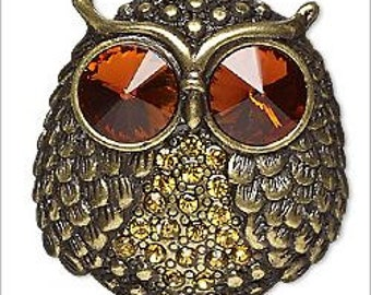 Glowing Antique Bronze and Amber Rhinestone Owl Pendant 1 1/2""