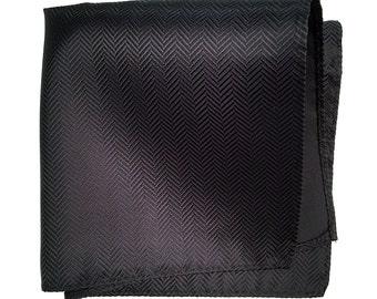 Black Silk Pocket Square. Elegant woven herringbone pocket silk. Brilliant shift in the light! Men's silk handkerchief.