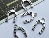 Bulk Lot 20 Silver Metal Good Luck Horseshoe Charms 18x12mm Wedding favors / bridal shower trinkets wholesale #138B