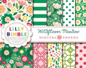 50% off sale Wildflower Meadow Digital scrapbook paper, flowers, floral, vintage, green, red, paper pack, Instant Download, Lilly Bimble