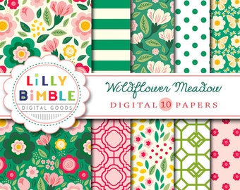 40% off Floral Digital Paper pack, Wildflower Meadow, scrapbook papers, green and red lattice, flowers, Commercial Use, Lilly Bimble