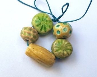 Textured Colorful Porcelain Ceramic Clay Bead Bundle Mix Handmade Amber And Green