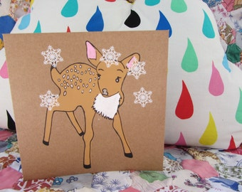 fawn with snowflakes