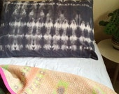 READY TO SHIP Hand Dyed Cotton Pillow Cases in Onyx Stripe, set of two, shibori