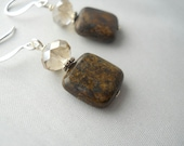 READY TO SHIP Champagne Silk Crystal and Bronzite Stone Perfect Fall Earrings