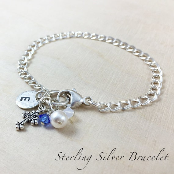 Petite Cross Charm Bracelet - Hand Stamped Sterling Silver - Personalized Keepsake Charm Bracelet