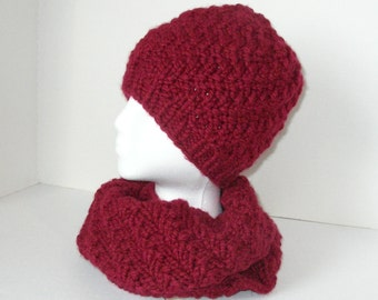 Cranberry Infinity Scarf and Hat Gift Set