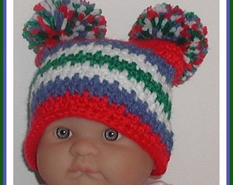 Denim Blue Hat Newborn Baby Boy Boys Red Green White Pom Poms Jester