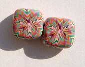 Summer Starburst Handmade Artisan Polymer Clay Bead Pair