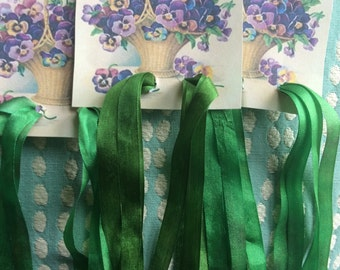 Spring Green Hand Dyed Silk Ribbon 7mm 2 Yards