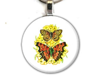 Art Button Pendant Keychain Butterfly vintage nature art charm button swivel lobster hook unique finds 1