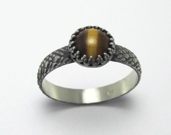 Tiger's Eye Dragon Scale ring Oxidized Sterling Silver gemstone 1.64ct Size 11