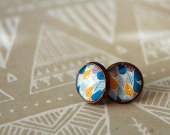 tiny modern forest framed post earrings- tree pattern- mod