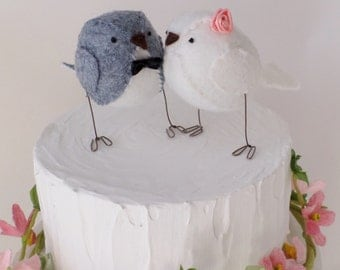 Wedding cake topper, love birds, wedding decoration, grey and white