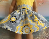 American Girl Doll Clothes Grey Yellow Black and White Floral Very Fully Gathered 50s Style Skirt with Waistband Medley NEW Style