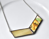 Broken China and Stained Glass Chevron Necklace - Yellow