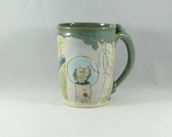 Coffee Cup  in Contemporary Design  with owl, tall teacup, tea mug or pottery mug  beer tankard, stein Holds 20 ounces 302