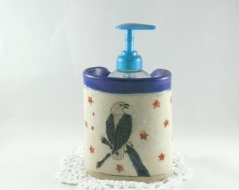 American Eagle Ceramic Vase, Military Veterans Gift, Star Spangled Banner Toothbrush holder Pencil Holder  Desk Accessory Soap Dispenser 374
