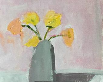 flower painting original acrylic painting flowers in vase