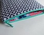 Modern Aztec Zipper Pouch - Navy Blue Aztec Make up Bag - Blue Aqua Pouch - modern Cosmetic Pouch -