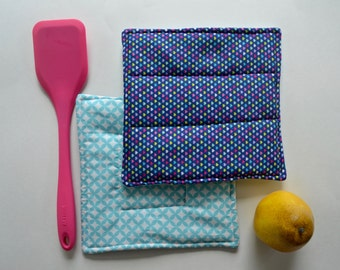 Fabric Hot Pads - Quilted potholders - Potholders - Bright Hot Pads - Kitchen Accessories - Trivet - Bakers Gift - Baking Gift -