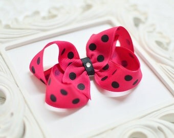 Ready to Ship Medium Shocking Pink Hair Bow with Black Polka Dots  -  3 inch bow - toddler bow - girls bows