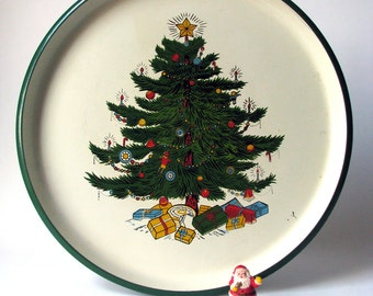 Vintage - Christmas Plate - Platter - Round Tray - Made in Japan - Decoration - Tree with Ornaments and Gifts - Under 15 - for her