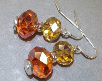 Sunny yellow and orange AB Czech crystal silver earrings