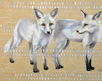 Foxes - Print of original painting