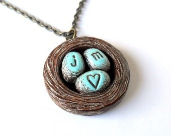 Personalized Bird's Nest Necklace, Personalized Couple Initials Necklace, Personalized Jewelry, Valentine's Gift, Bride Gift, Wife Gift