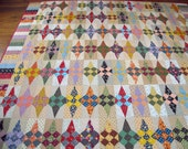 Queen Size Quilt - 95.5 x 96.5 - Pointed Star Quilt - Scrap Quilt - Vintage  Look - Reproduction and Novelty Prints