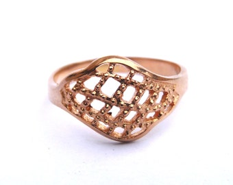 Vintage 14K Rose Gold Ring Filigree Art Deco Engagement Ring