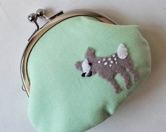 Coin purse kiss lock change purse fawn on pastel green kawaii cute animal mint green baby deer pouch stocking stuffer