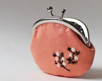 Coin purse hand-embroidered flowers on peach, apricot, white flower, embroidery, black, change purse, pastel kiss lock coin purse