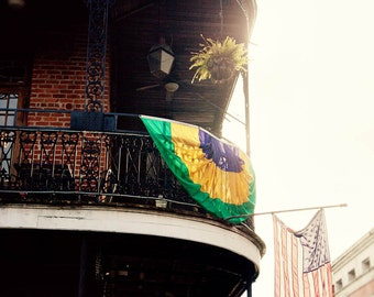new orleans art mardi gras american flag balcony photograph new orleans photography french quarter architecture art