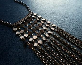 isadora - long boho bib necklace in oxidized copper chains - vintage inspired nomadic