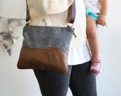 Waxed Canvas and Leather Crossbody Bag Slate / Handmade Leather and Canvas Purse / Cross Body Bag with Strap