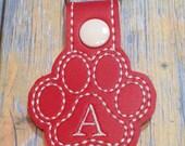 Personilized Monogram Paw Print Key Fob Bag Tag