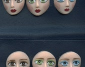 "A lot of 6 Detailed 1 1/4"" face Cabs Variety eye colors DFL 6"
