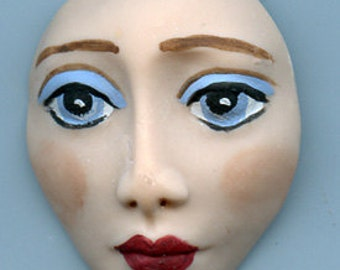"Polymer Clay  Detailed  1 3/4"" "" Art Doll Face Cab with Blue Eyes NWDF1"