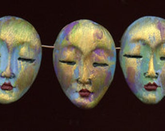 """3  One of a Kind  Abstract  1  3/8 """"  Polymer Asian  Face  Beads Side Drilled ABAS 5"""