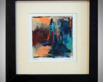 ABSTRACT Painting Blue and orange ORIGINAL Modern Artwork - 14x14 Frame - MODERN Fine Art by Ben Will
