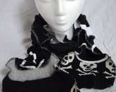 upcycled sweater scarf, black and white with skulls, OOAK, free shipping!