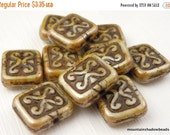 25% OFF Summer Sale Czech Rectangle Beads -  Antique Beige Picasso Rectangle Beads - 12mm 10 Beads