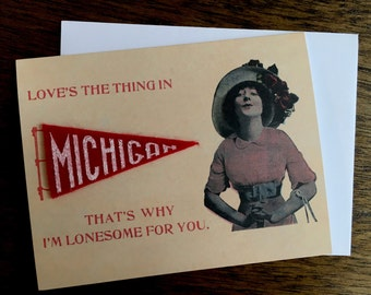 Love Is The Thing In Michigan Greeting Card - Miniature Silkscreened Felt Pennant - Blank Inside