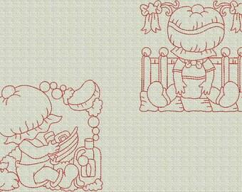 INSTANT DOWNLOAD Sunbonnet Baby Blocks Redwork Machine Embroidery Designs 2 Sizes