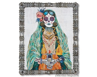 Señorita Sugar Skull Large Original Collage