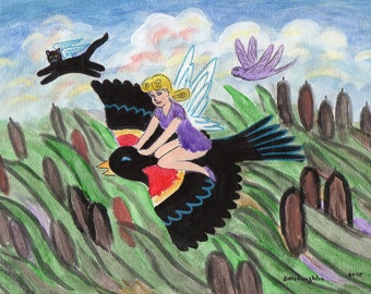 ORIGINAL PAINTING, Pixie on a Red-winged Blackbird riding Through the Cat-tails with a Black Cat Angel, by DM Laughlin