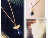 Lapis Lazuli Teardrop  and Crescent Moon Pendant Necklace - vintage beads chain  - crescent moon half moon - Moon Magic - crystal pendulum