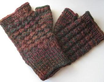 Fingerless Mitts in Autumn Shades - Textured Pattern Wool Blend Warmth